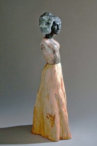 stone and wood figurative sculpture