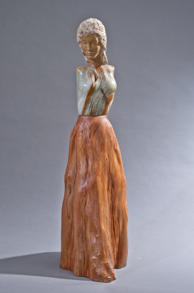 onyx and wood figurative sculpture
