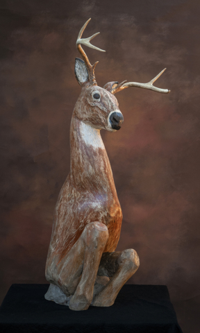 limestone deer sculpture
